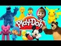 Play Doh Cartoon Characters Masha, Mickey, Pikachu, Cookie Monster, Lego, Pocoyo.