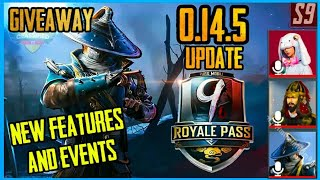 SEASON 9 ROYAL PASS : 0.14.5 UPDATE , NEW FEATURES AND EVENTS ( PUBG MOBILE )