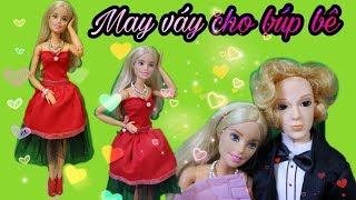 Cách may váy đầm cho búp bê, lễ tình nhân Barbie & Ken / DIY Barbie Clothes / Ami DIY