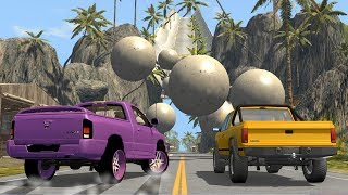 Beamng drive - Frontal rolling Giant concrete Balls Against Cars
