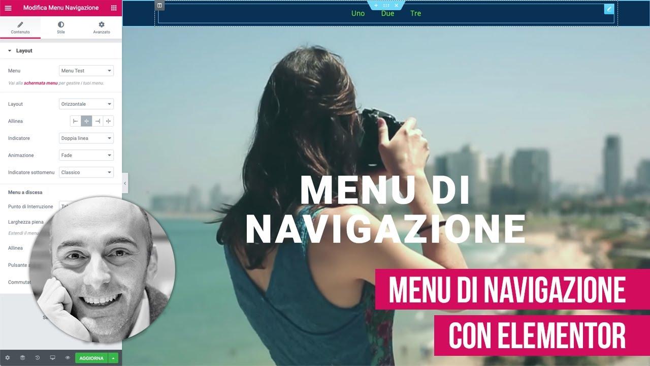 Creare menu di navigazione con Elementor