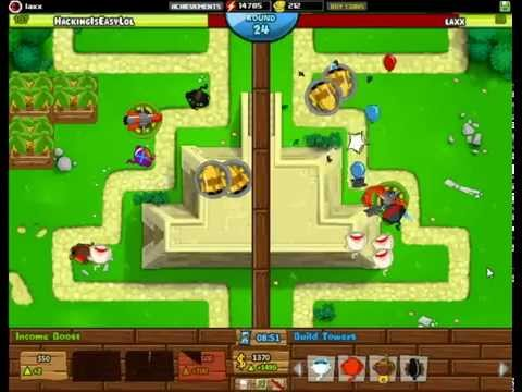 BTD Battles - Beating a hacker with random towers!