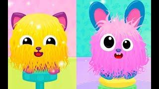 Видео для детей про малышей животных | Прически и коктейль для котенка в детской игре