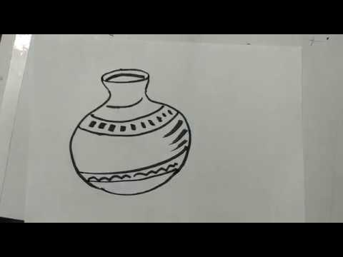 How to draw a pot (made up of clay) ? drawing, sketch, art lessons, quick  draw lessons for kids