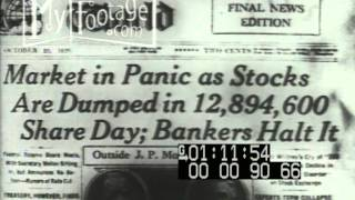 Stock Footage - Wall St Crash of 1929; Great Depression Montage
