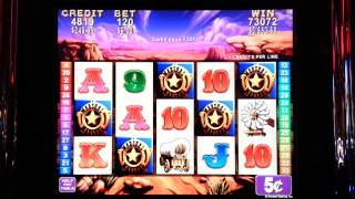 Rawhide Slot - $6.00 Bet with 5 Bonus Symbols, Nice Jackpot Hand Pay