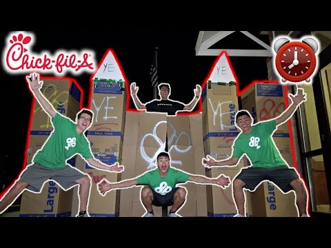 24 HOUR OVERNIGHT CHALLENGE IN CARDBOARD CASTLE!! AT CHICK-FIL-A!!