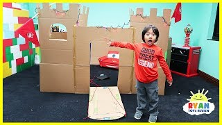 Giant Castle Box Fort Challenge from Cardboard with Ryan ToysReview thumbnail