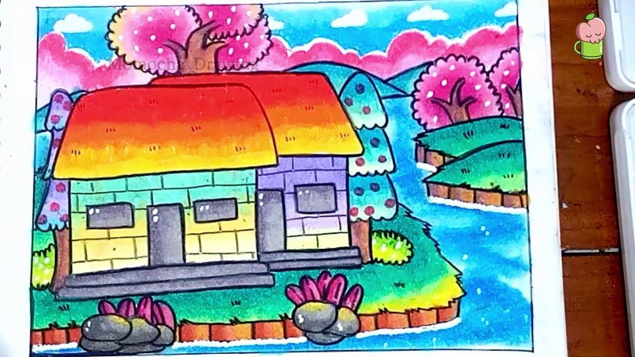 Pemandangan Mudah Cara Menggambar Dan Mewarnai Dengan Gradasi Warna Oil Pastel