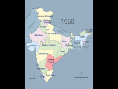 History of map from 1947 to 2016
