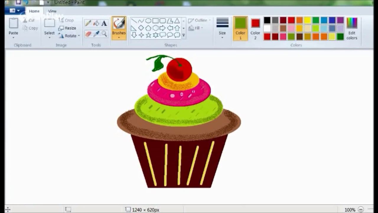 How to Draw Easy Cup Cake? Drawing in Ms paint kids tutoriols ...