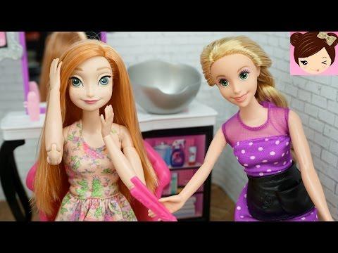 Frozen Anna Doll Make Over at Rapunzels Beauty Salon - Barbie  Toy Hair Salon Videos