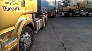 Extemelly tight reversing of B-Double Truck in Australia