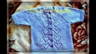 Весенняя детская кофта регланом сверху на застежке, вязание спицами
