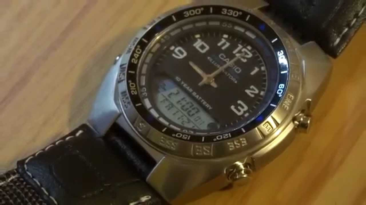 how to change time on casio fishing gear watch