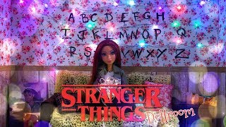 DIY - How to Make: STRANGER THINGS Dollhouse Room with REAL Working Holiday Lights