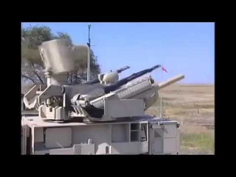 Russian Pantsyr S-1 SAM-system destroying aerial targets