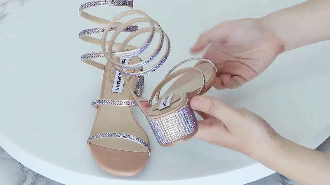9103e417a0a848 OAKDE Diamante Ankle Wrap Sandals - JESSICABUURMAN - YouTube