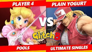 Glitch 8 SSBU - 3D | Player 4 (Peach) Vs. Plain Yogurt (Terry) Smash Ultimate Tournament Pools