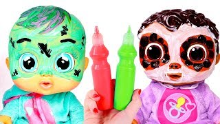 BEBES HALLOWEEN 👻 Maquillaje Halloween para Bebe Lala y Cece