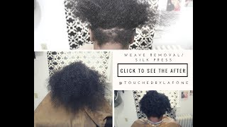 Weave removal with a silk press and trim on natural hair
