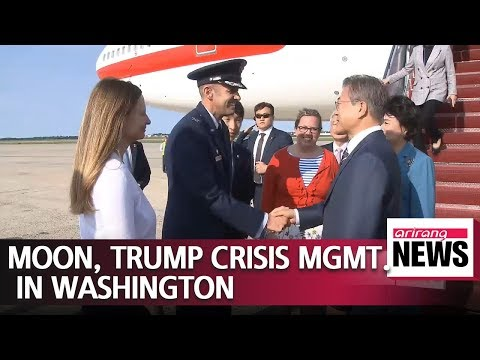 Moon lands in Washington for make or break meeting with Trump