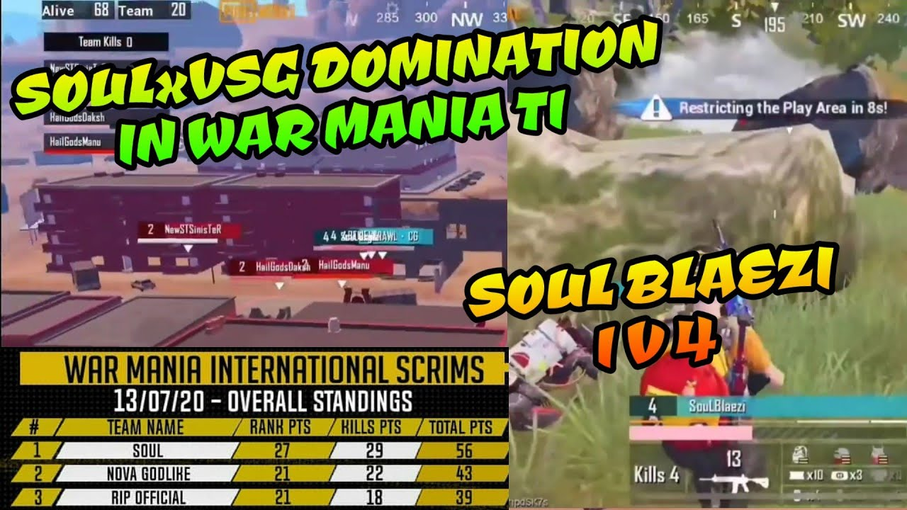 Soul x VSG Domination in War Mania T1 Scrims, Soul Blaezi 1 v 4 Clutch, Pubg Mobile Highlights