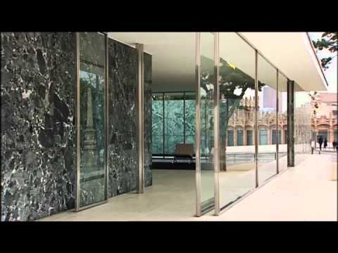mies van der rohe deutscher pavillon in barcelona baukunst youtube. Black Bedroom Furniture Sets. Home Design Ideas