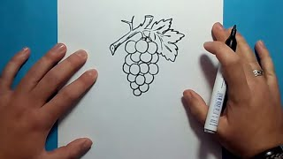 Como dibujar un racimo de uvas paso a paso 2 | How to draw a bunch of grapes 2