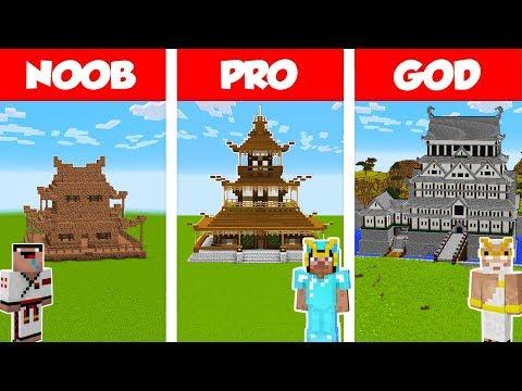 Minecraft NOOB vs PRO vs GOD: JAPANESE HOUSE BUILD CHALLENGE in Minecraft / Animation
