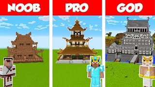 Minecraft Noob Vs Pro Vs God Japanese House Build Challenge In Minecraft  Animation