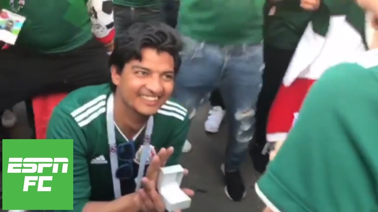 Mexico fan proposes after El Tri beats Germany 1-0 in 2018 World Cup in Russia | ESPN FC
