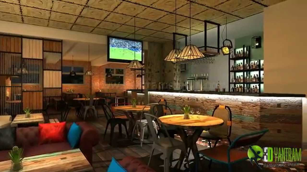 3D Bar Interior Design and Architectural walkthrough Animation - YouTube