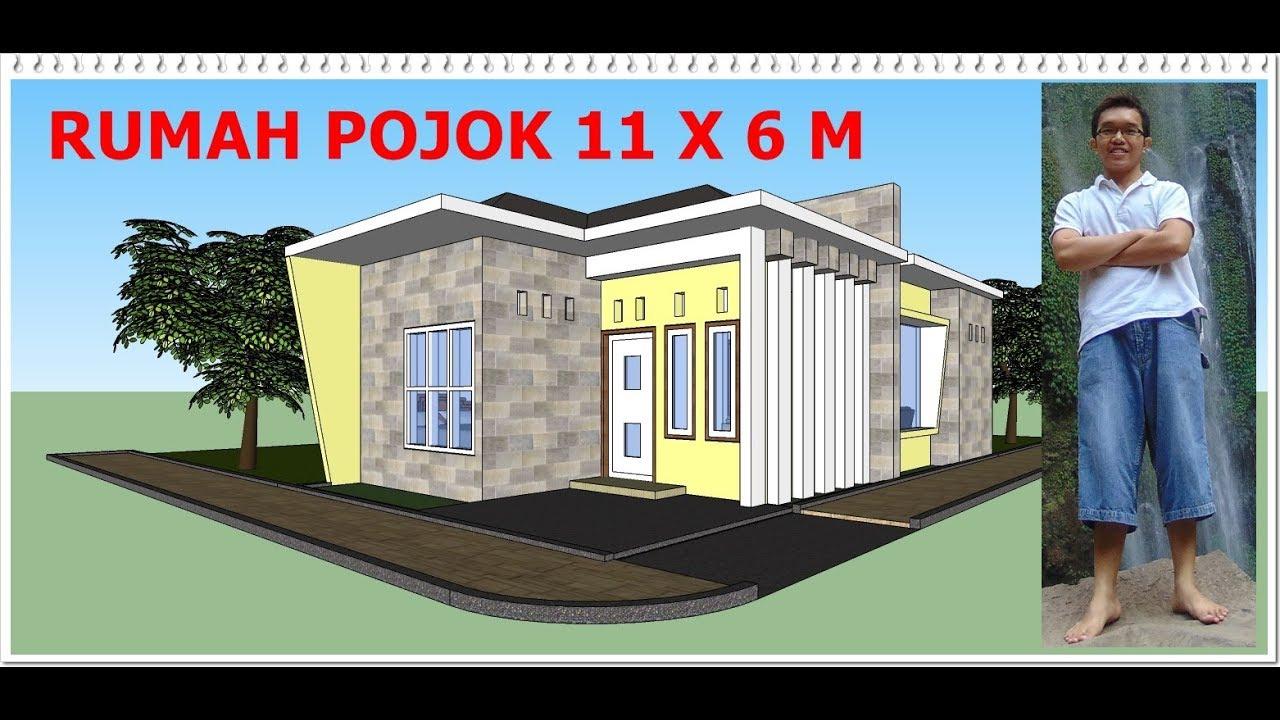Cara Desain Rumah Sudut 11 X 6 M Dengan Sketchup Youtube