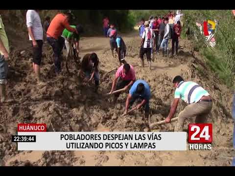 Huánuco: moradores despejan vías con lampas y picos tras huaico