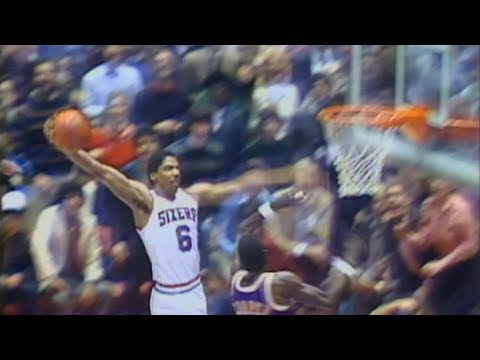 "Dr. J famous ""Rock the Baby"" Cradle Dunk against the Lakers"