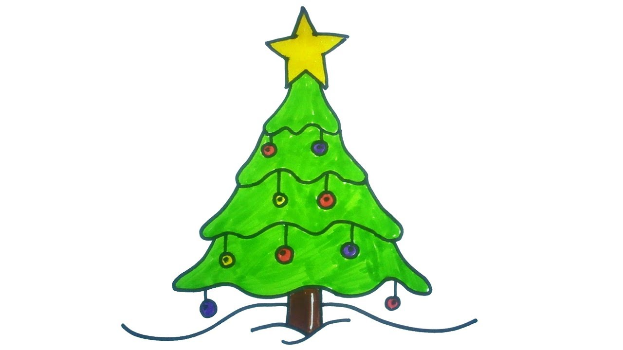 Very Easy How To Draw A Christmas Tree Easy And Cute Art On