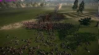 An immense battery of cannons resisting an advancing column of thou...