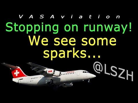 [REAL ATC] Swiss RJ100 ENGINE FIRE at Zurich!