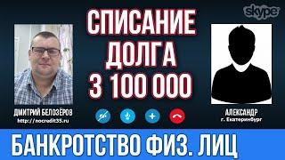 Банкротство физических лиц в Екатеринбурге  Списание долга по банкротству в 3 100 000 рублей