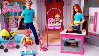 Barbie Dollhouse LOL Family Fun Morning Routine in Playground