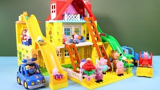 Peppa Pig Blocks Mega House Construction Sets - Lego Duplo House With Water Slide Toys For Kids