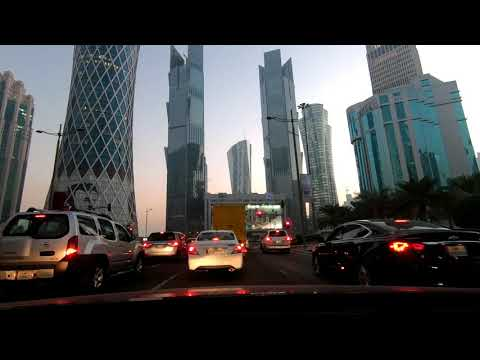 DRIVING IN QATAR - DOHA, DOWNTOWN