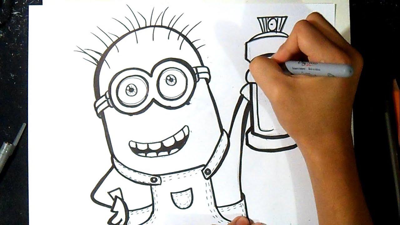 Como Desenhar Um Minion Com Aerossol Grafite Youtube