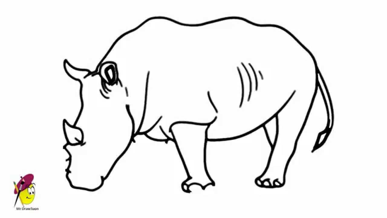 Rhino - How to draw a Rhino - Rhinoceros Easy Drawing ...