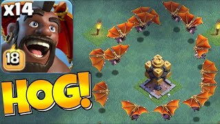 """HoG GliDeR TrOLL 😀 RaiD!! X18 """"Clash Of Clans"""" All Hog Gliders XD"""