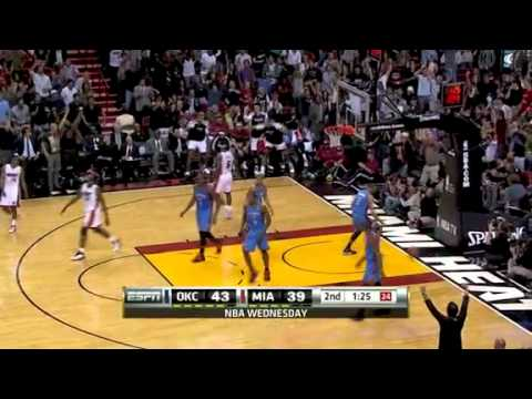 thunder vs heat lebron james reverse dunk youtube
