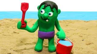 Baby Hulk Water fun 💕 Play Doh Stop Motion videos for kids