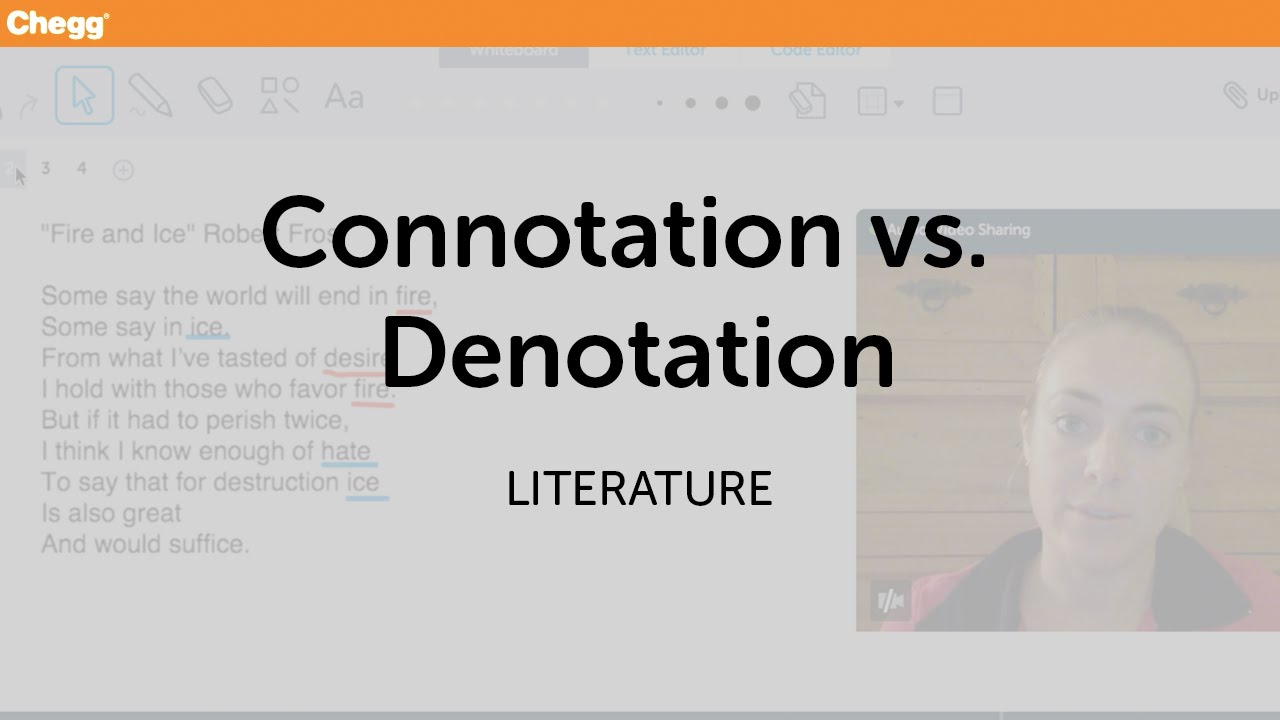 Connotation Vs Denotation Literature Chegg Tutors Youtube