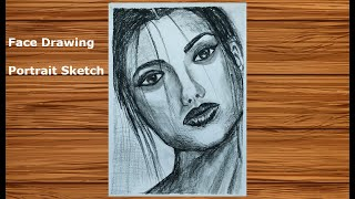 How to draw Realistic Faces #10 | Charcoal Pencil Portrait Sketch Drawing | Face Drawing Series